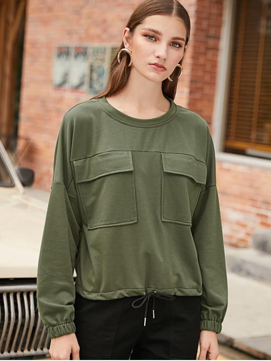 Sudadera con hombros descubiertos y cordón de bolsillo con solapa ZAFUL - Ejercito Verde S