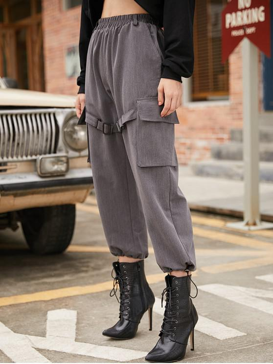outfit Buckle Belt Pockets Wide Leg Pants - GRAY M