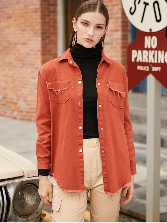 buy Snap Button Raw Hem Denim Shirt Jacket - CHOCOLATE ONE SIZE