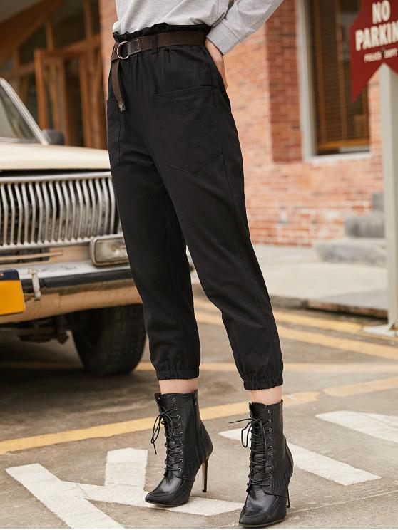 Pantalones bolsillo lateral Paperbag basculador - Negro M