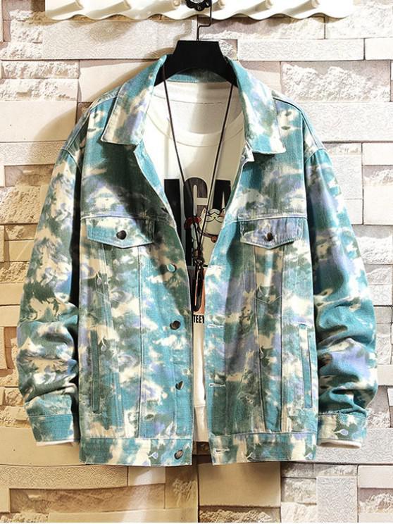 unique Faux Pocket Design Print Casual Jacket - MULTI M