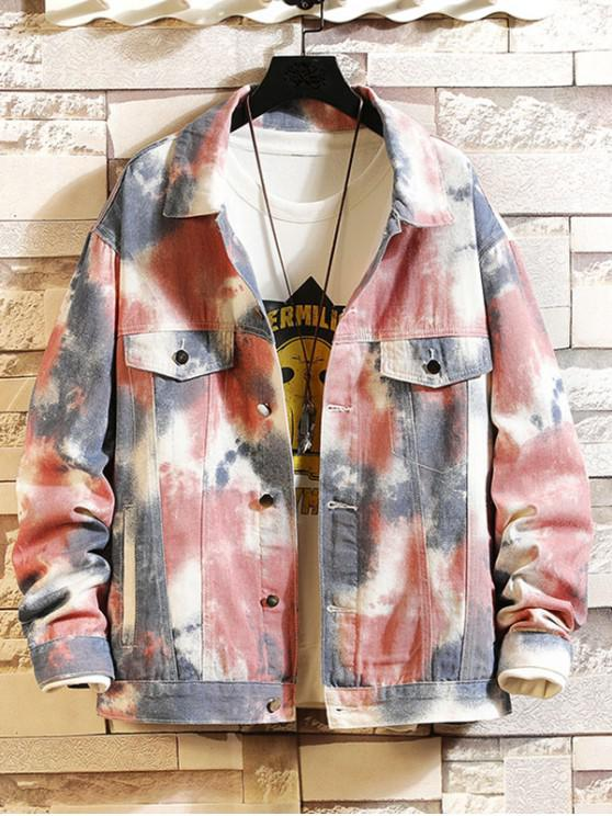 Pintura botón diseño impreso chaqueta informal - Multicolor L