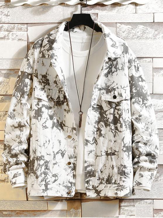 women Faux Pocket Decorated Print Jacket - WHITE 2XL