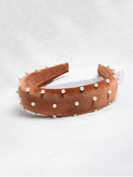 別緻的人造珍珠裝飾的發箍 - 棕色