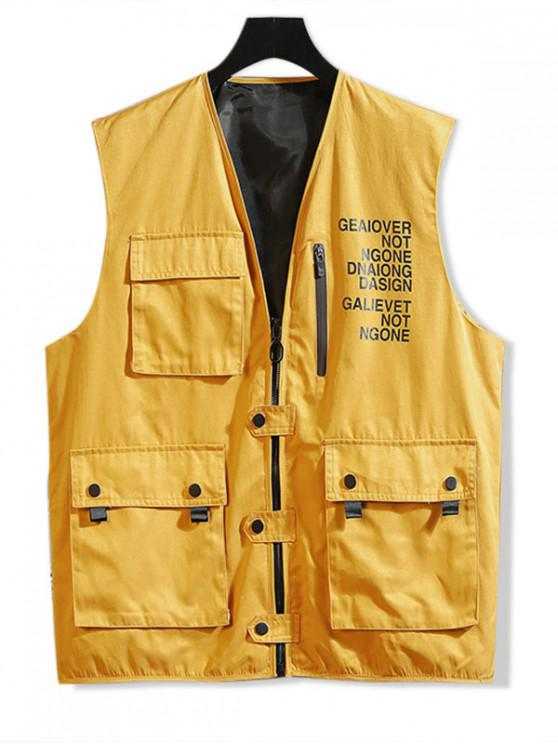 chic Letter Print Zip Up Casual Waistcoat - YELLOW XL