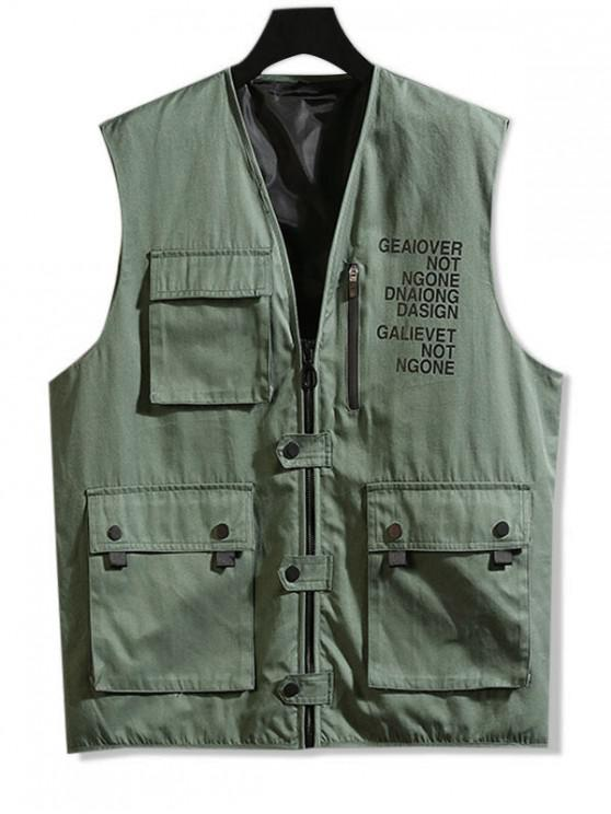 buy Letter Print Zip Up Casual Waistcoat - ARMY GREEN M