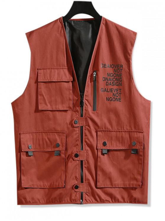 trendy Letter Print Zip Up Casual Waistcoat - RED L