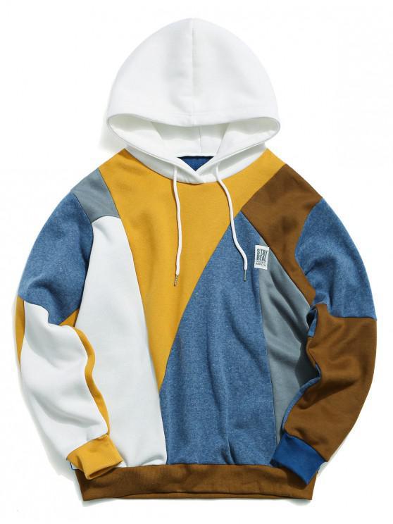 Terrón del color casual con capucha con cordón - Multicolor-A 2XL