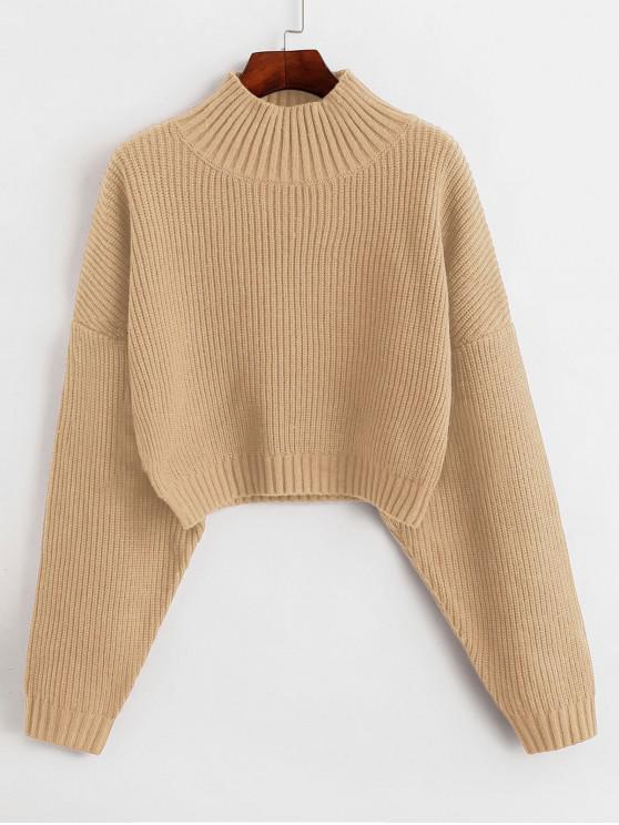shop ZAFUL Drop Shoulder Mock Neck Plain Sweater - TAN L