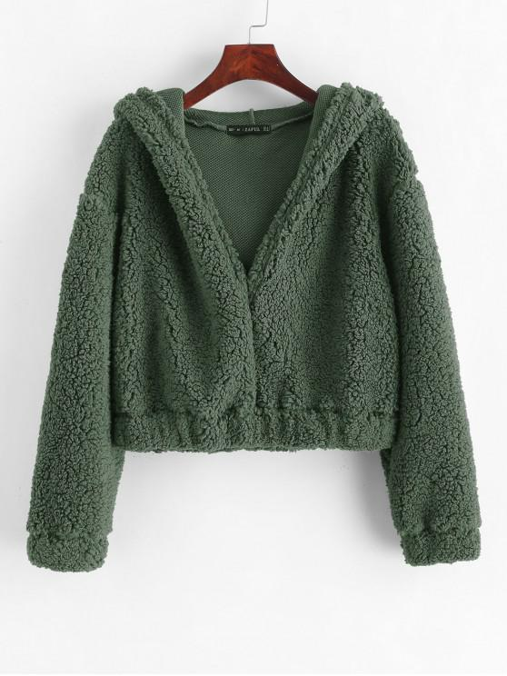 latest ZAFUL Plain Fluffy Faux Shearling Teddy Hoodie - CAMOUFLAGE GREEN S