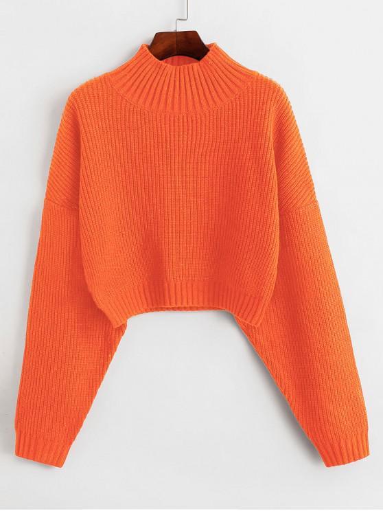 best ZAFUL Drop Shoulder Mock Neck Plain Sweater - ORANGE M