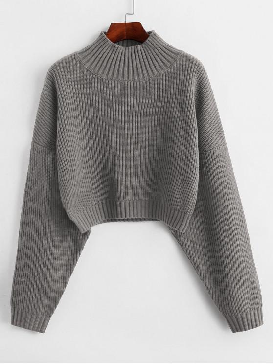 womens ZAFUL Drop Shoulder Mock Neck Plain Sweater - GRAY S