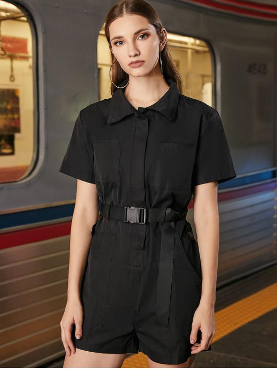 best Belted Hidden Button Front Pockets Romper - BLACK S