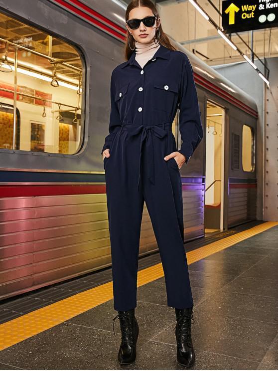 sale ZAFUL Half Buttoned Flap Pockets Coveralls Jumpsuit - DEEP BLUE XL