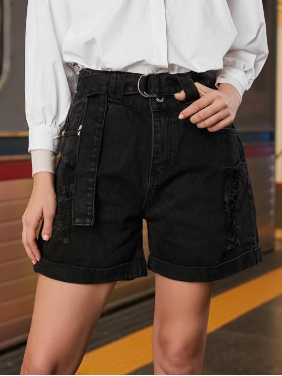 outfit Cuffed Ripped Jean Bermuda Shorts - BLACK S