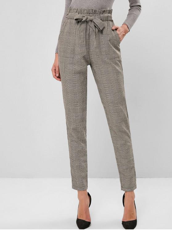 outfits ZAFUL Plaid High Waisted Pocket Pencil Paperbag Pants - MULTI-B M