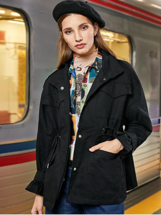 shops Snap Button Pockets Drawstring Waist Jacket - BLACK S