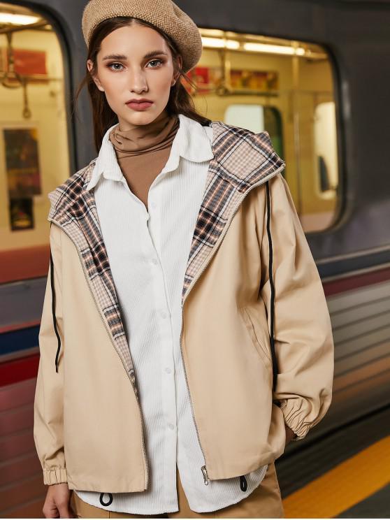 fashion Zip Up Pockets Reversible Plaid Hooded Jacket - LIGHT KHAKI XL