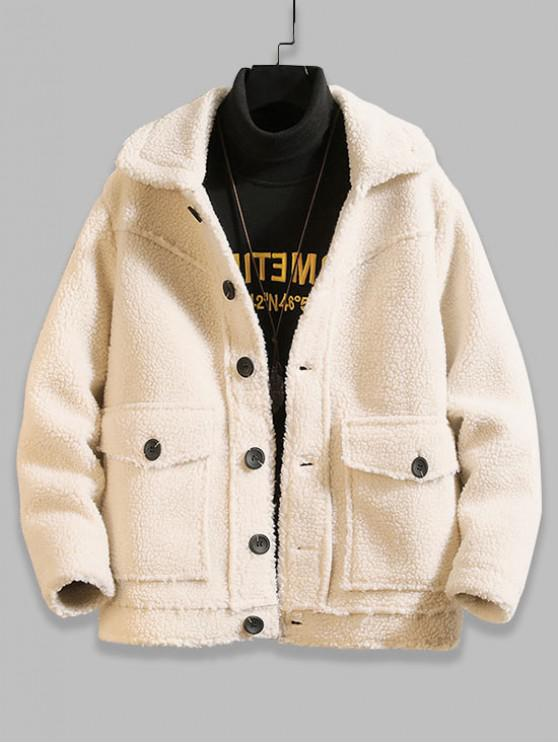shops Solid Color Button Design Fluffy Jacket - WHITE M