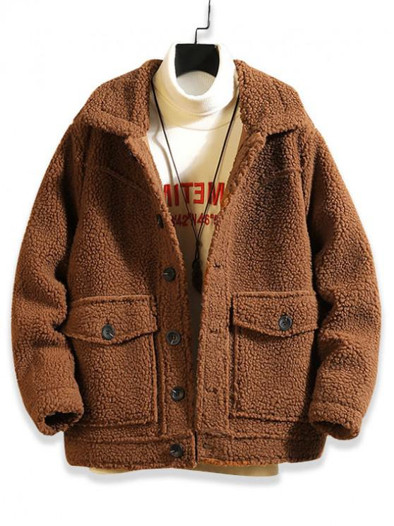 chic Solid Color Button Design Fluffy Jacket - BROWN BEAR L