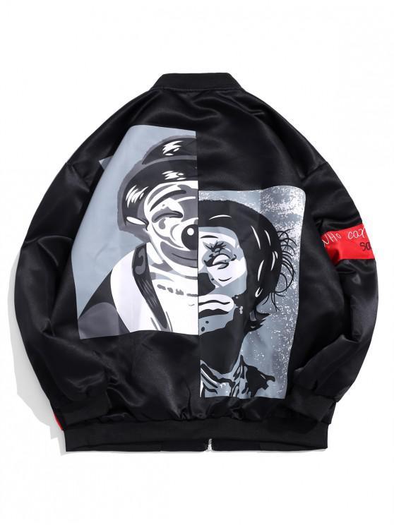 women's Graphic Print Leisure Zipper Jacket - BLACK M