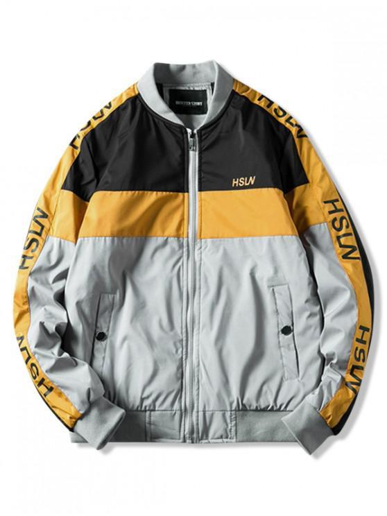 online Color Blocking Panel Letter Padded Jacket - GRAY M