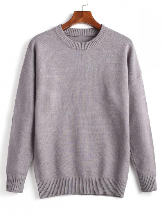 ladies Elbow Patch Decorated Pullover Sweater - LIGHT GRAY 3XL