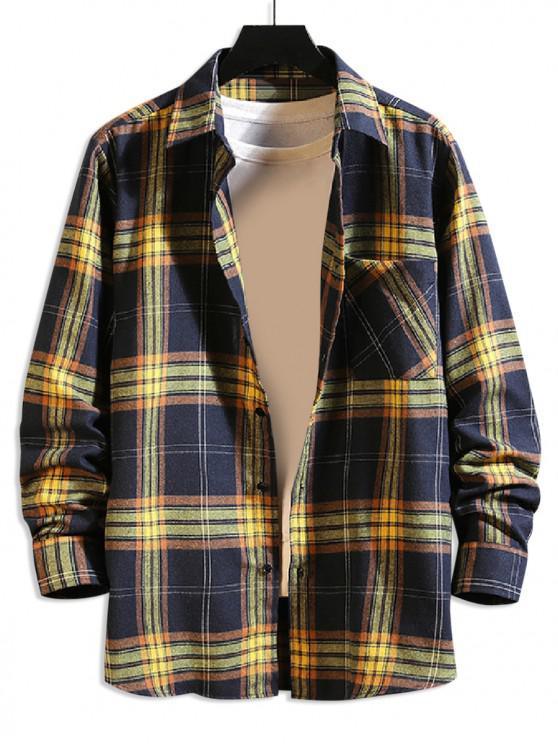 new Plaid Chest Pocket Button Shirt - CADETBLUE M