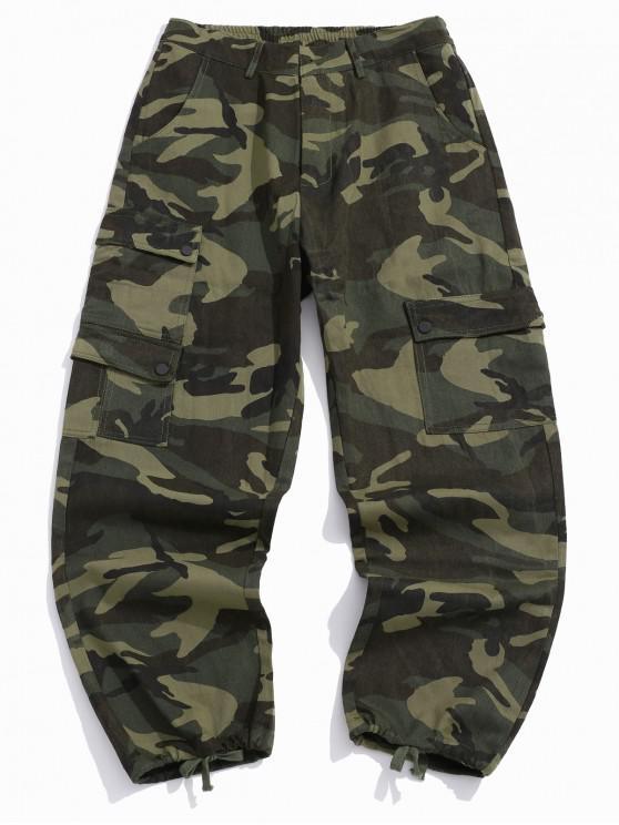 Camuflaj Print Clapeta de buzunar Pantaloni Cargo Casual - Camuflaj verde L