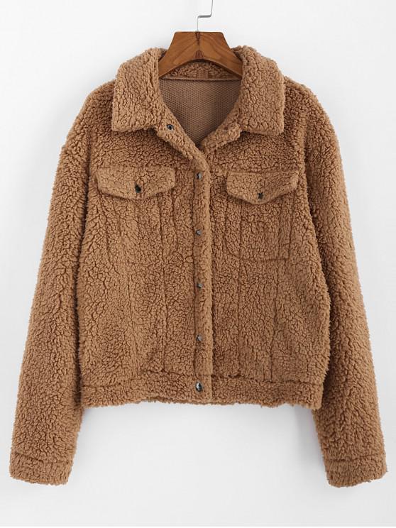 womens ZAFUL Drop Shoulder Button Up Plain Teddy Coat - BROWN XL