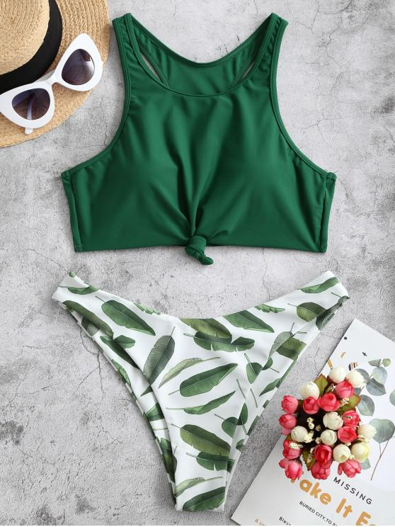 womens ZAFUL Knot Leaf Print Racerback Bikini Swimsuit - MEDIUM SEA GREEN L