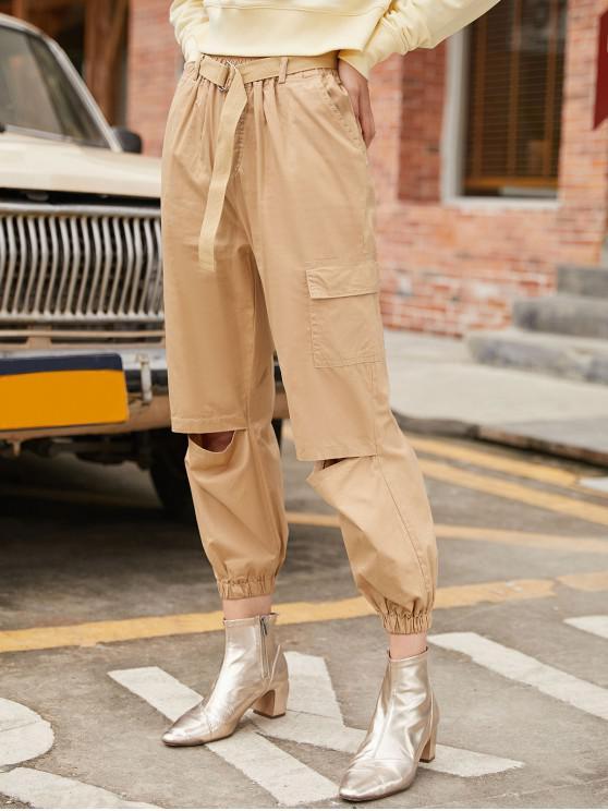 fancy Belted Cutout Ninth Cargo Jogger Pants - DARK KHAKI M