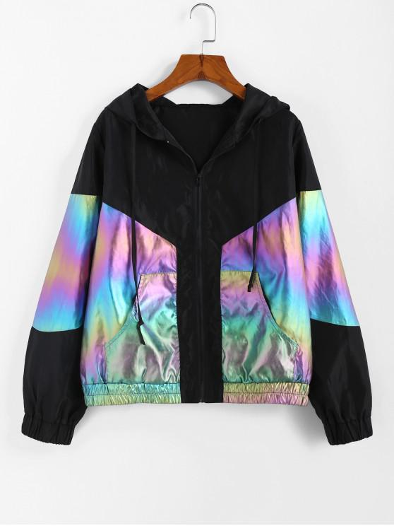 online ZAFUL Hooded Metallic Windbreaker Jacket - MULTI-A S