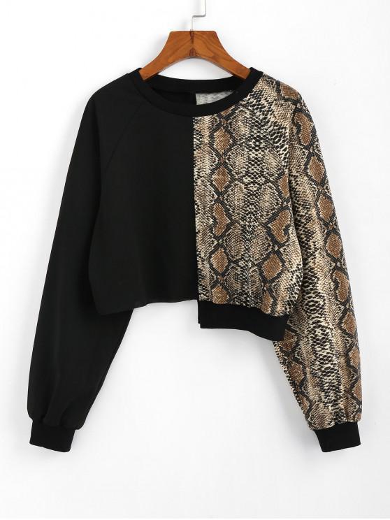 new ZAFUL Crew Neck Snakeskin Cropped Sweatshirt - BLACK S