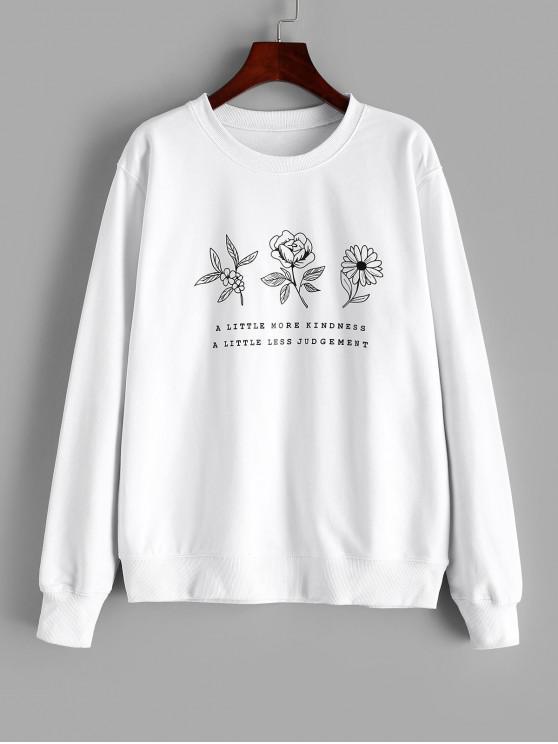 women Flower Graphic Cotton French Terry Sweatshirt - WHITE S