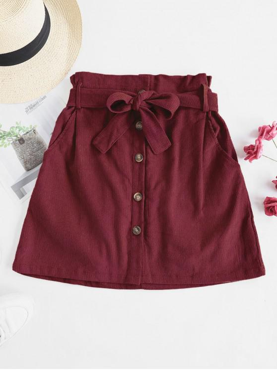 chic Button Fly Corduroy Belted Paperbag Skirt - RED WINE S