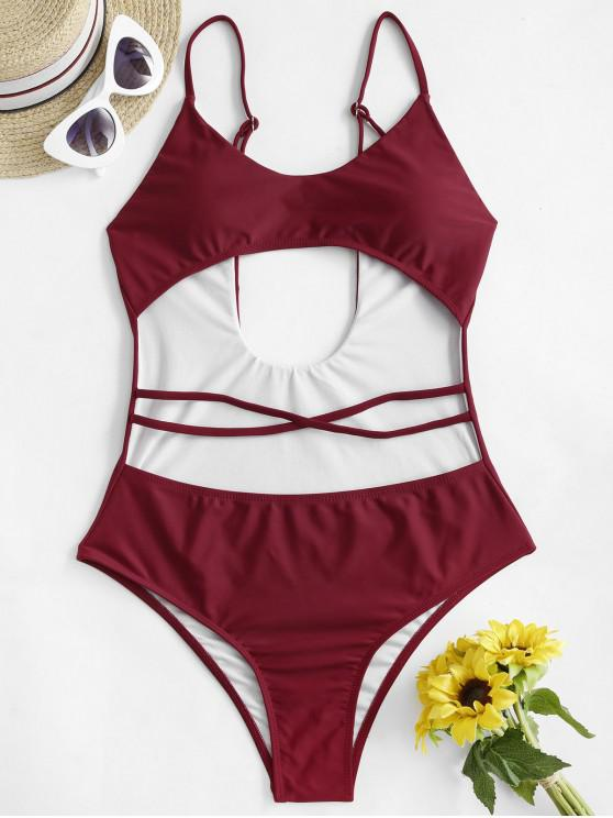 lady ZAFUL Strappy Cutout One-piece Swimsuit - RED WINE M