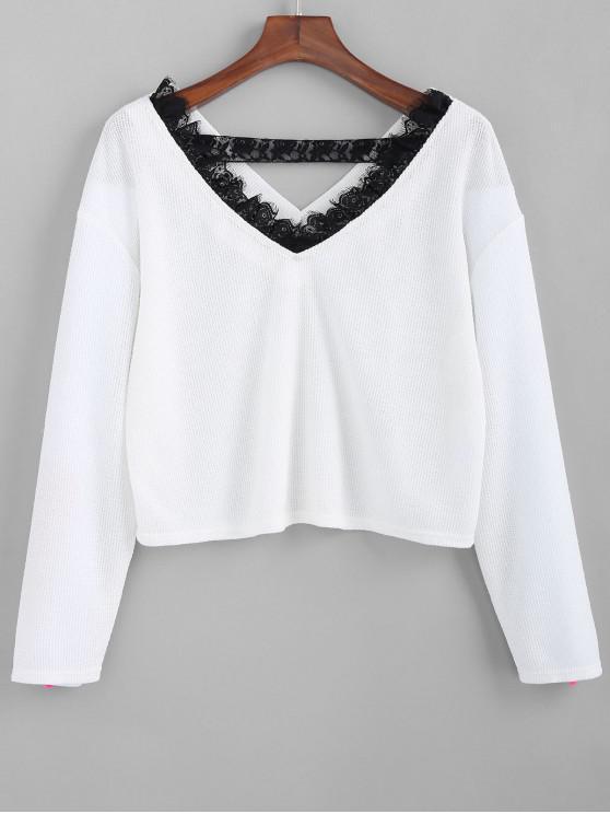 best ZAFUL V Neck Lace Trim Knitwear - WHITE XL
