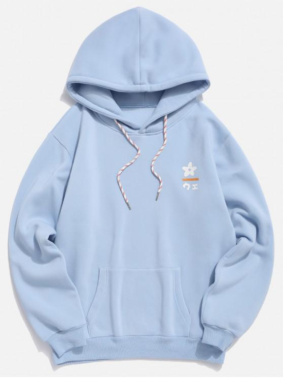 shop Flower Bottle Japanese Letter Print Fleece Hoodie - DENIM BLUE M