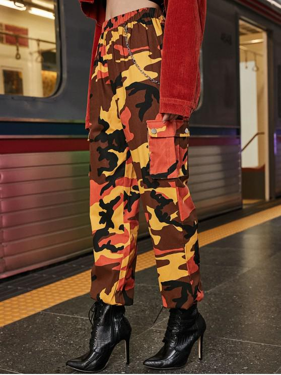 fancy Chain Flap Pockets Solid Jogger Pants - PAPAYA ORANGE M