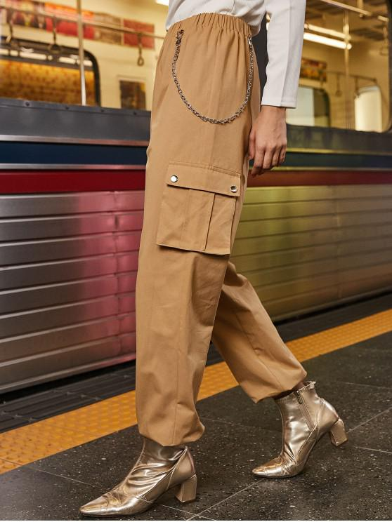 shop Chain Flap Pockets Solid Jogger Pants - LIGHT KHAKI L