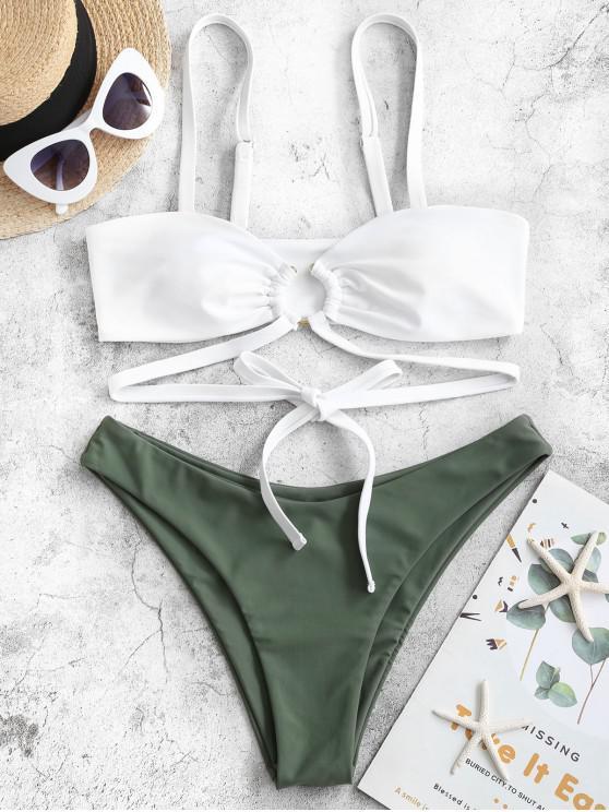 women's ZAFUL O-ring Wrap-tie High Leg Bikini Swimsuit - CAMOUFLAGE GREEN M