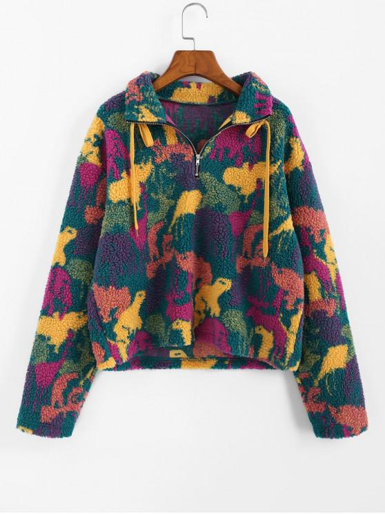 affordable ZAFUL Animal Camo Drop Shoulder Quarter Zip Teddy Sweatshirt - MULTI-A M
