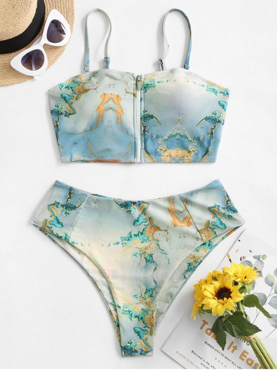shop ZAFUL Map Print Zip Up Bandeau Tankini Swimsuit - MULTI-A S