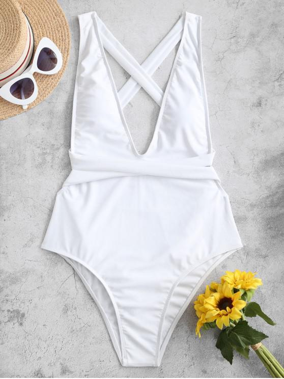 fancy ZAFUL Crisscross Drop Armhole One-piece Swimsuit - WHITE L