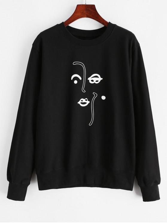 Sweat-shirt en Coton à Motif Abstrait Amusant - Noir L