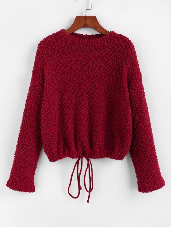 online ZAFUL Popcorn Drop Shoulder Drawstring Hem Sweater - RED WINE M