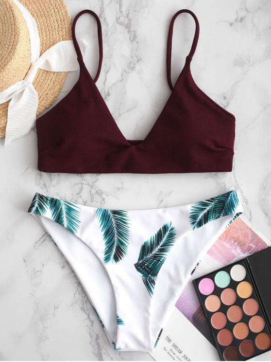 chic ZAFUL Leaves Print Padded Bikini Set - VELVET MAROON L