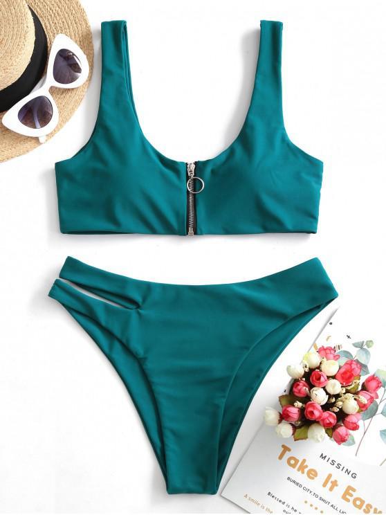 ZAFUL Zip Up ritaglio Bikini Swimsuit - Blu pavone L