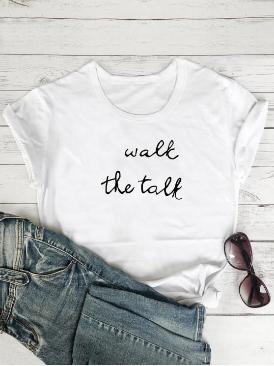 Camiseta con Estampado deLetrascon Mangas Cortas - Blanco M